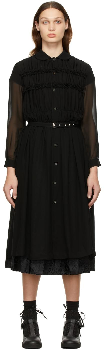 Comme des Garçons Comme des Garçons Black Georgette Belted Shirt Dress