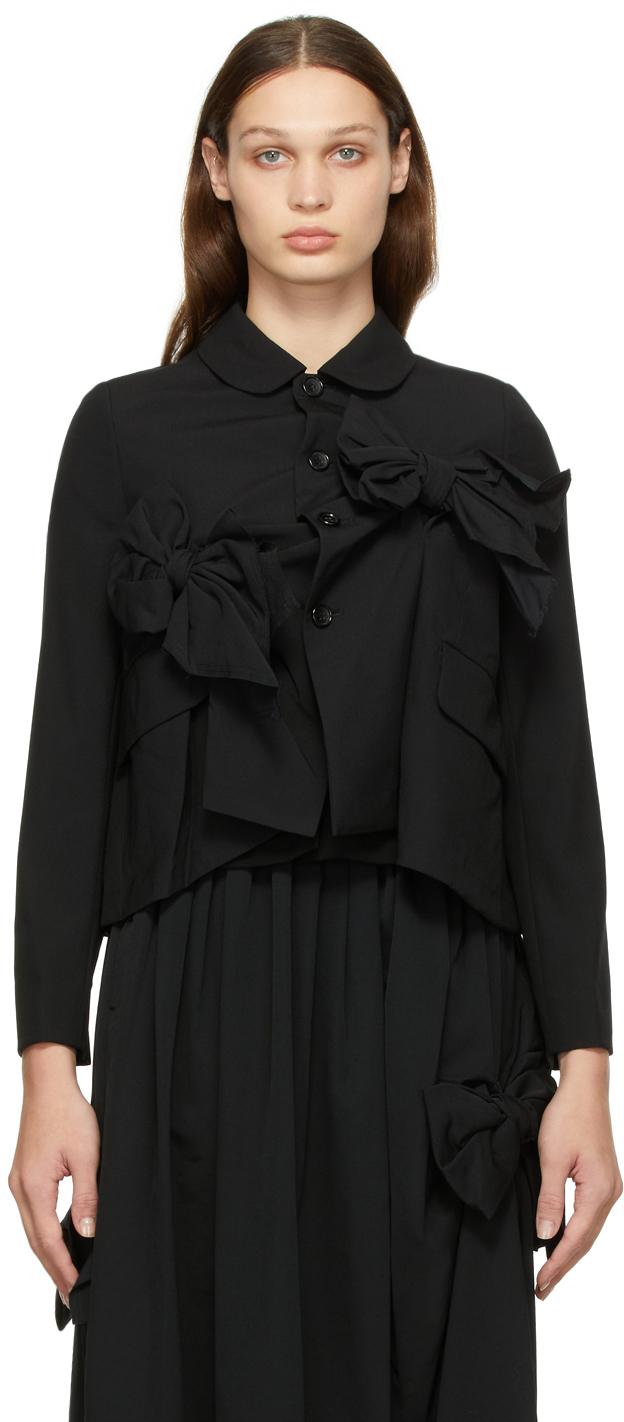 Comme des Garçons Comme des Garçons Black Tropical Wool Bow Blazer