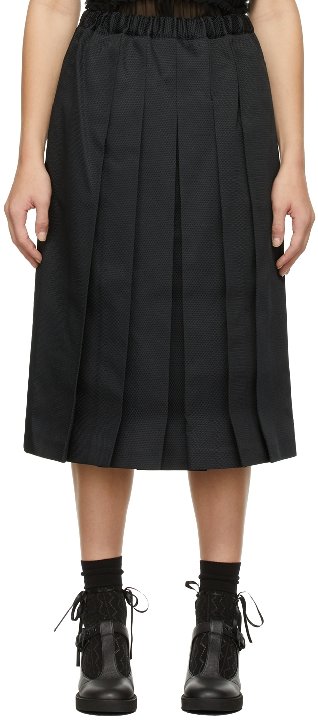 Comme des Garçons Comme des Garçons Black Pleated Dobby Skirt