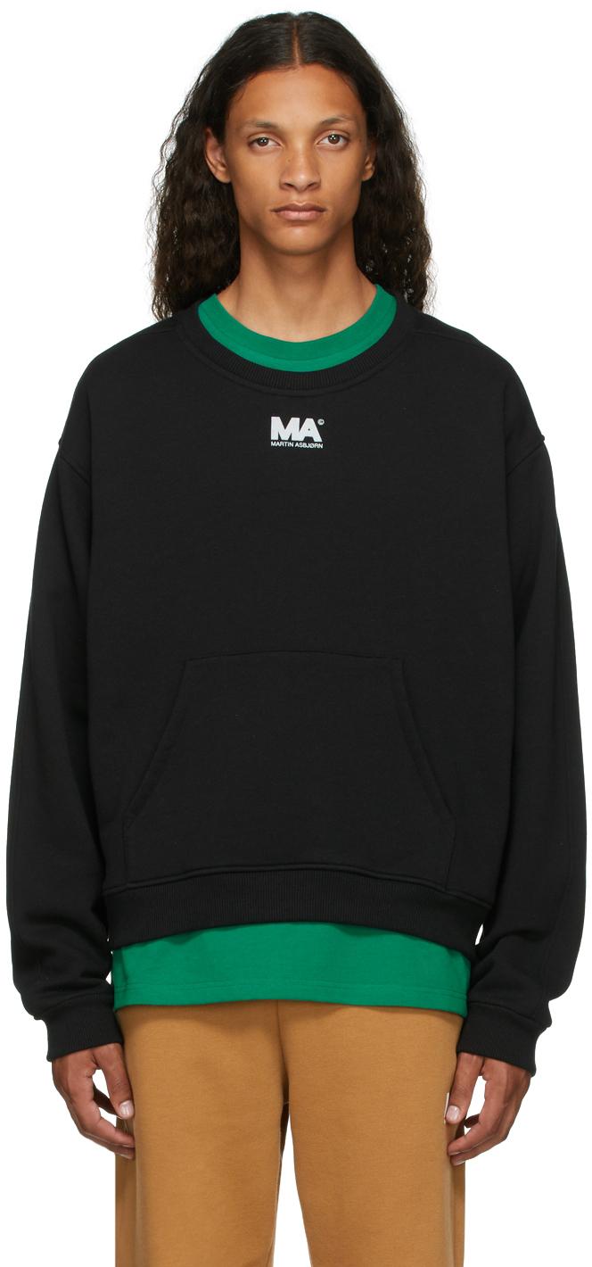 Black Crewneck 'MA' Sweatshirt