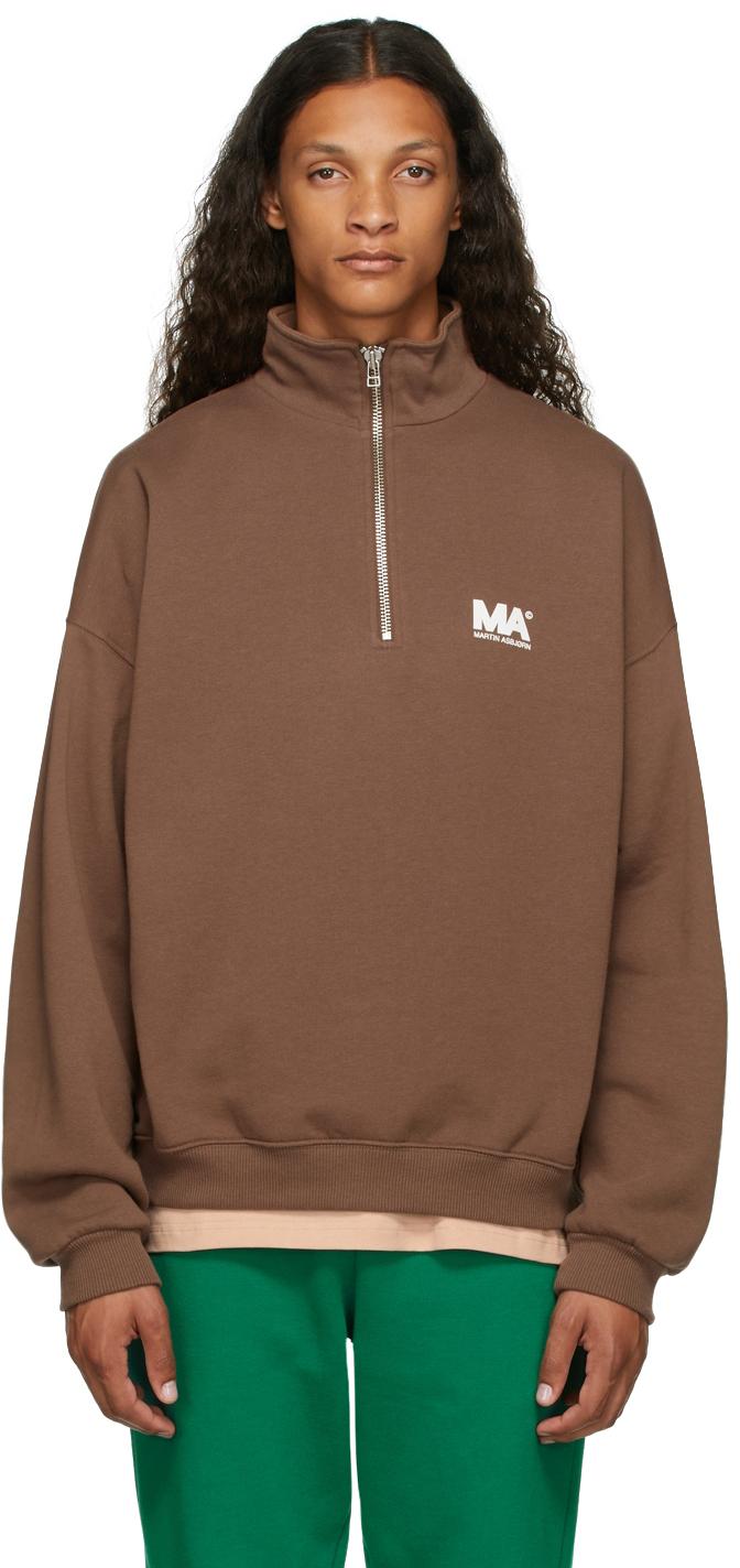 Brown Turtleneck 'MA' Sweatshirt