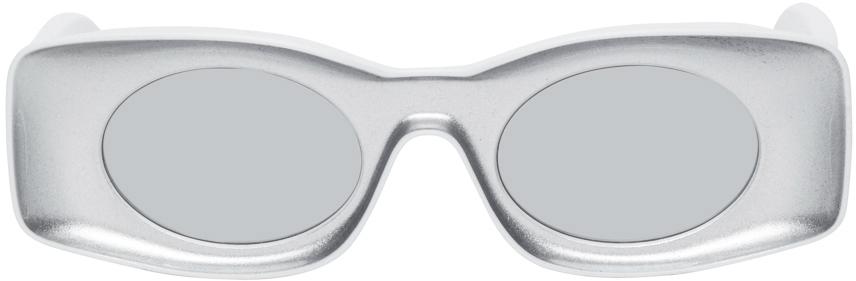 Silver & White Paula's Ibiza Square Sunglasses