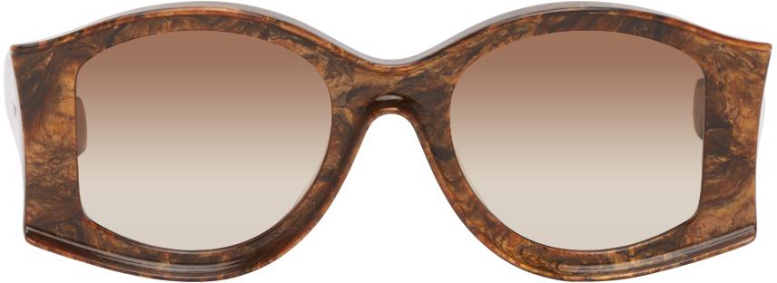Brown Paula's Ibiza Large Round Sunglasses