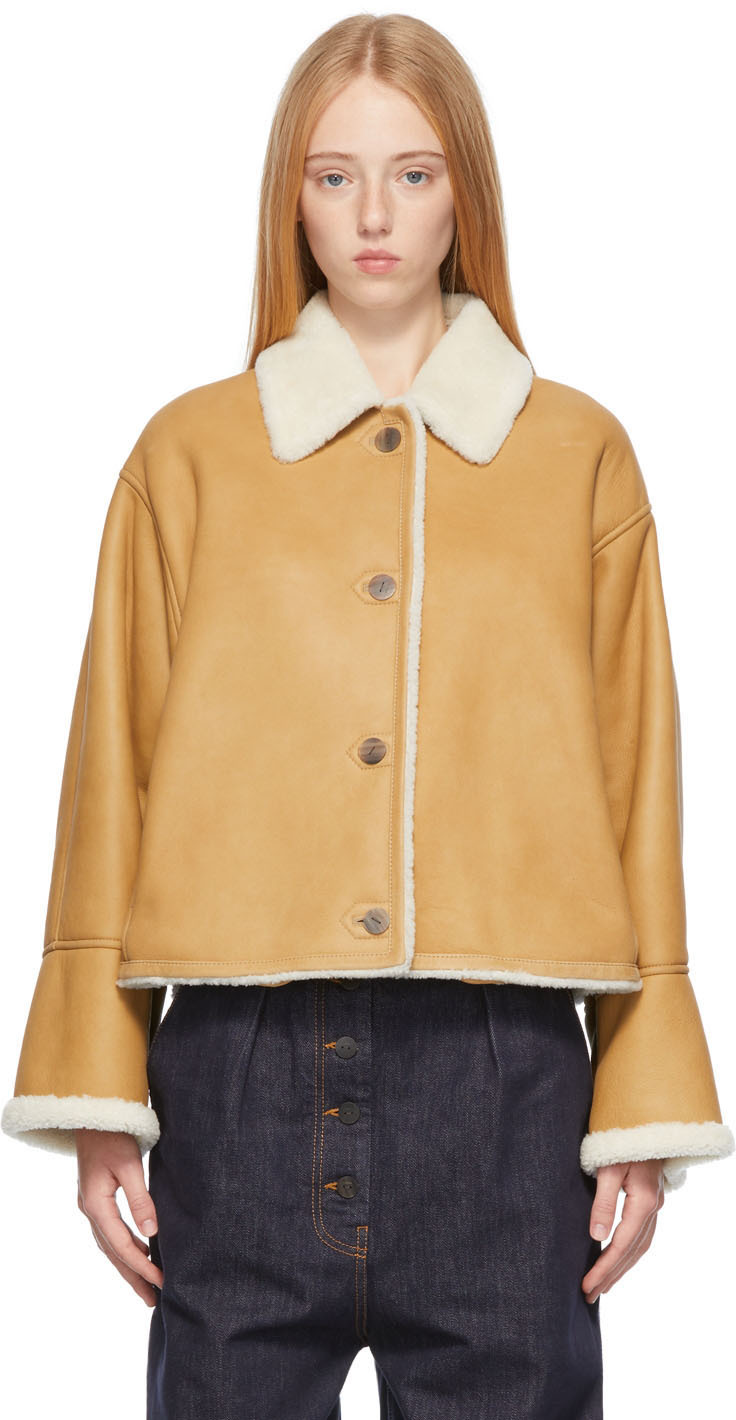Loewe Shearling Short Leather Jacket In 2073 White/camel