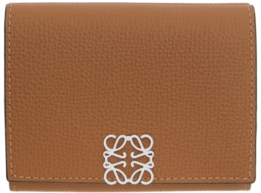 Tan Anagram Trifold Wallet