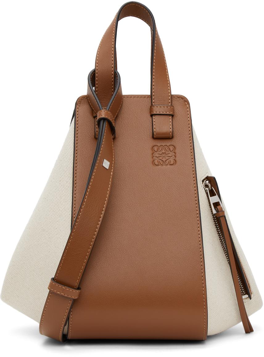 Loewe Off-White & Tan Small Hammock Bag