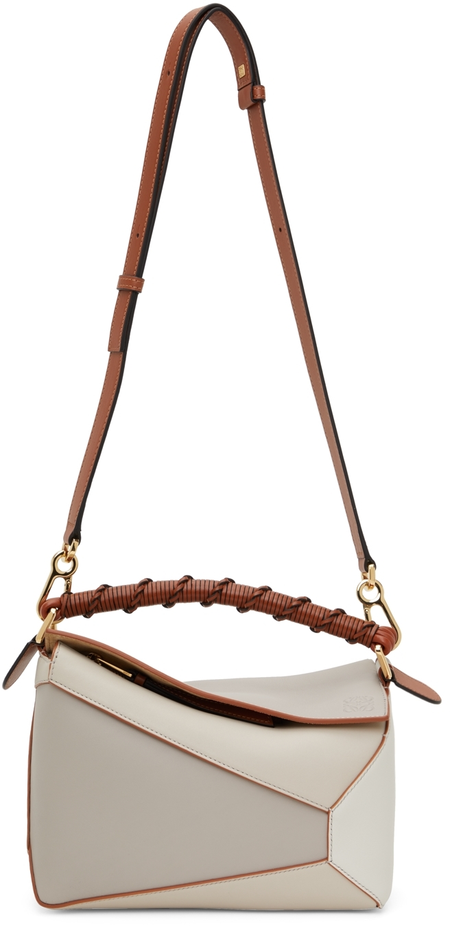 Loewe Taupe & Off-White Small Puzzle Edge Shoulder Bag