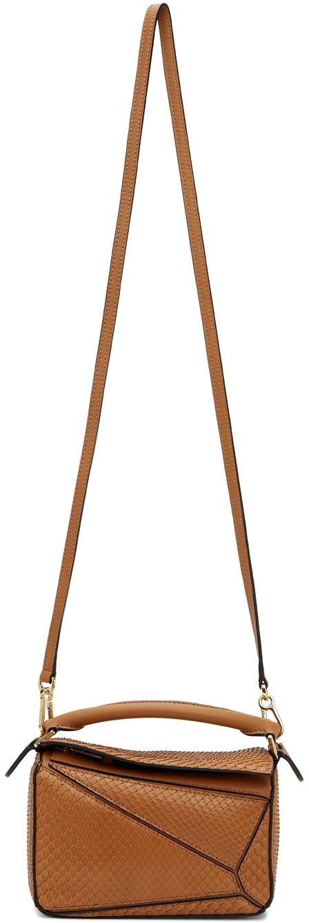 Loewe Tan Snakeskin Mini Puzzle Bag