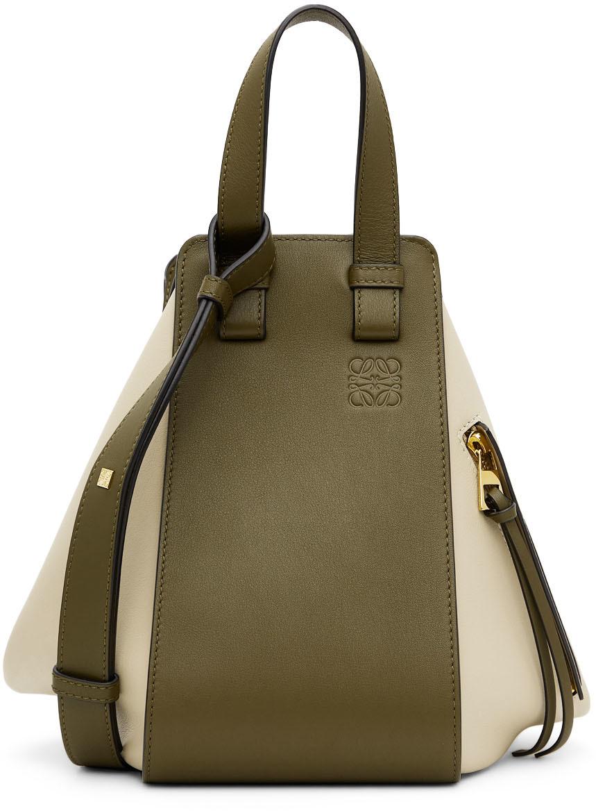 Loewe Green & Off-White Small Hammock Bag
