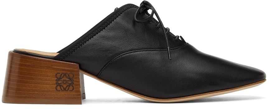 Loewe Black Slip-on Derby Mules In 1100 Black