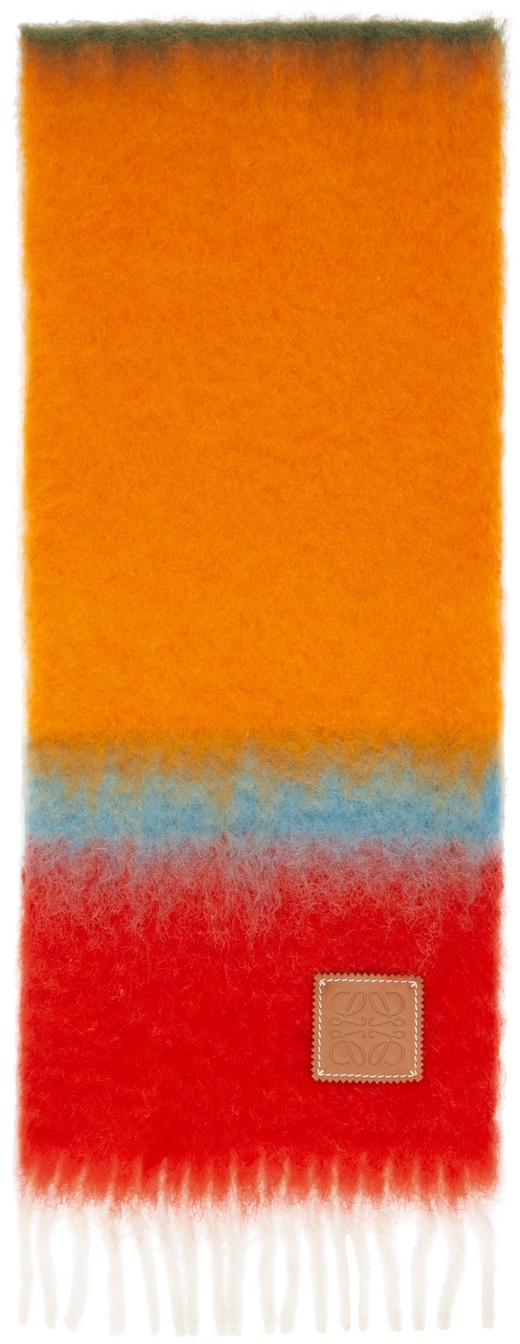 Pink & Orange Mohair Stripes Scarf