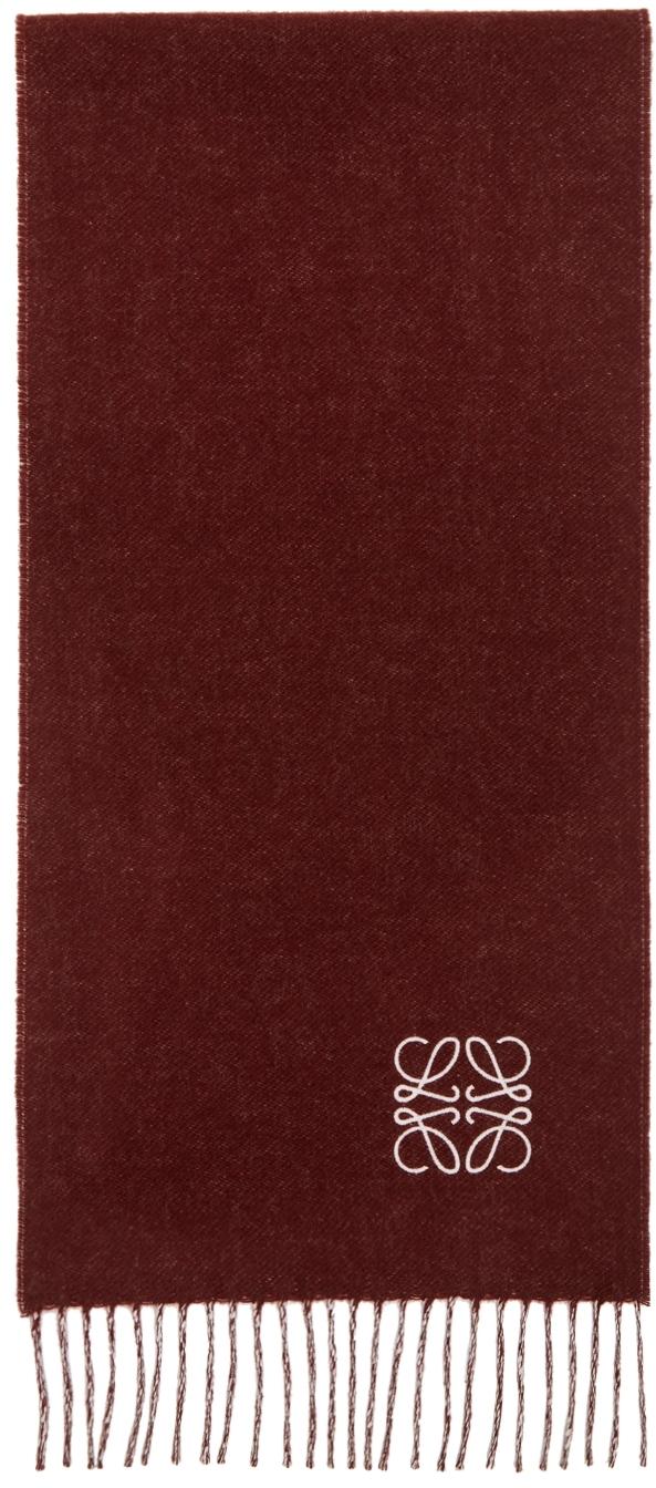 Loewe バーガンディ & ピンク アナグラム Bicolor マフラー