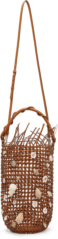 Tan Mesh Bolso Bucket Bag