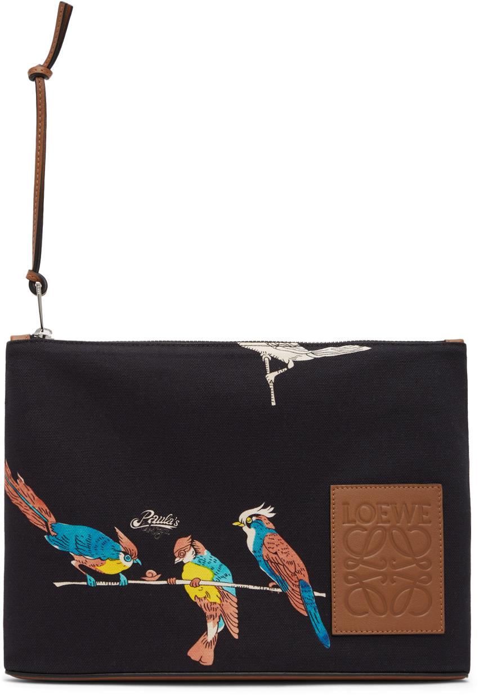Loewe 黑色 Paula's Ibiza 系列 Oblong Parrots 手拿包