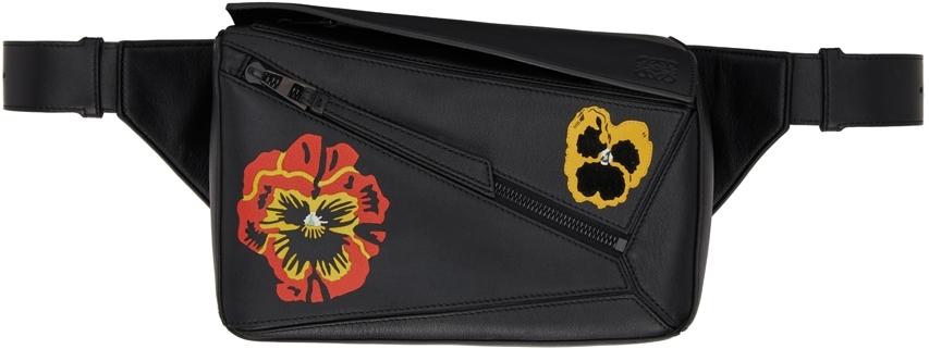 Black Pansies Small Puzzle Belt Bag