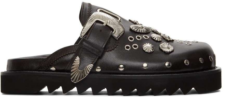 SSENSE Exclusive Brown Leather Studded Clogs