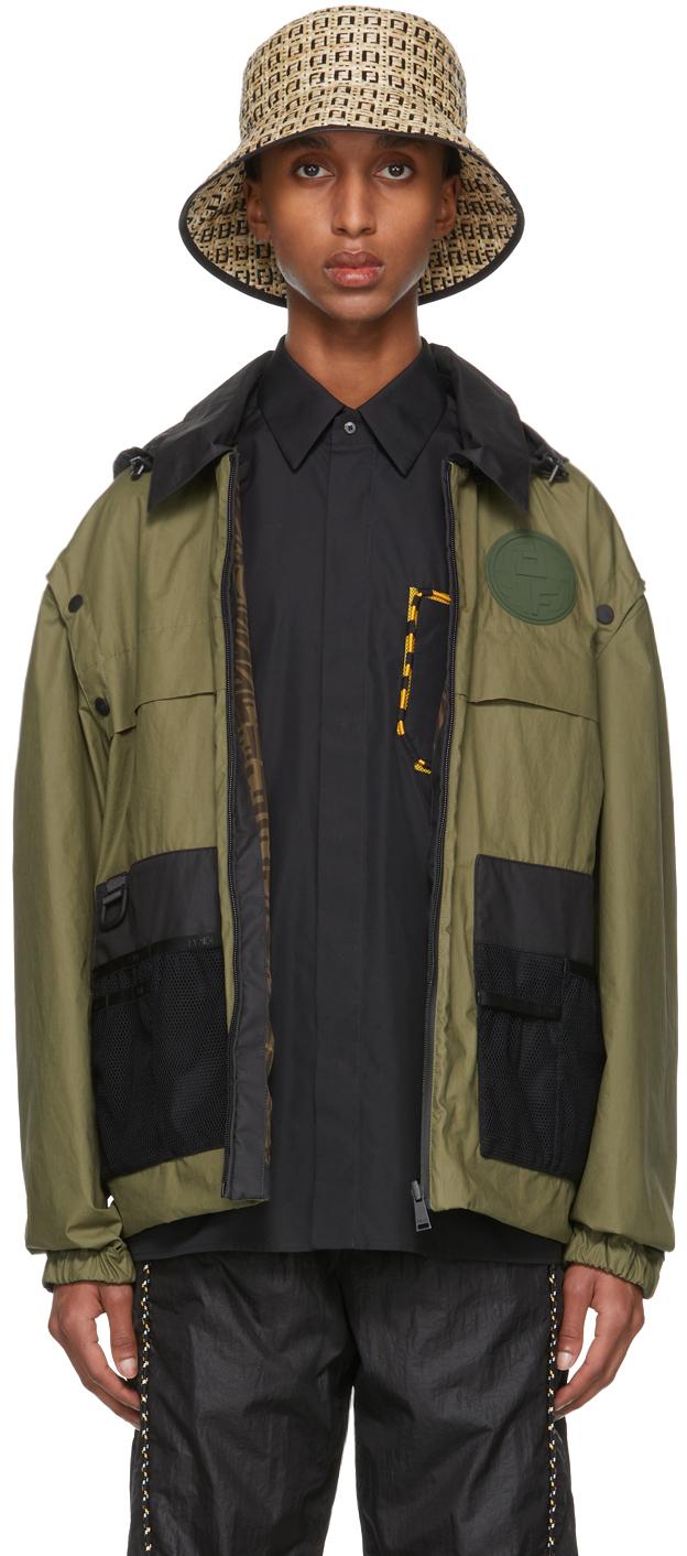 Reversible Khaki Coated Cotton Backpack Jacket