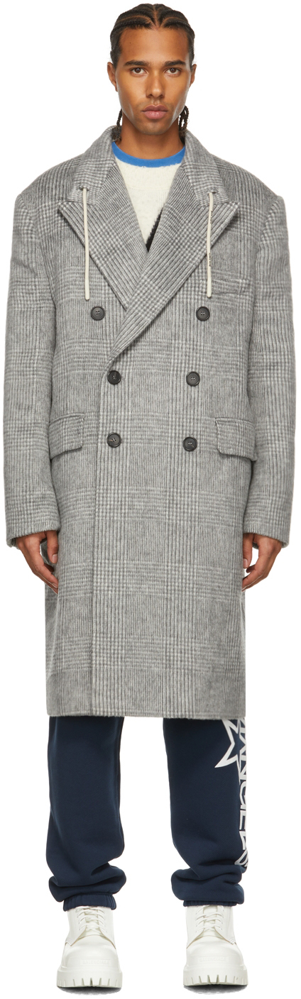 Palm Angels Grey Checked String Coat