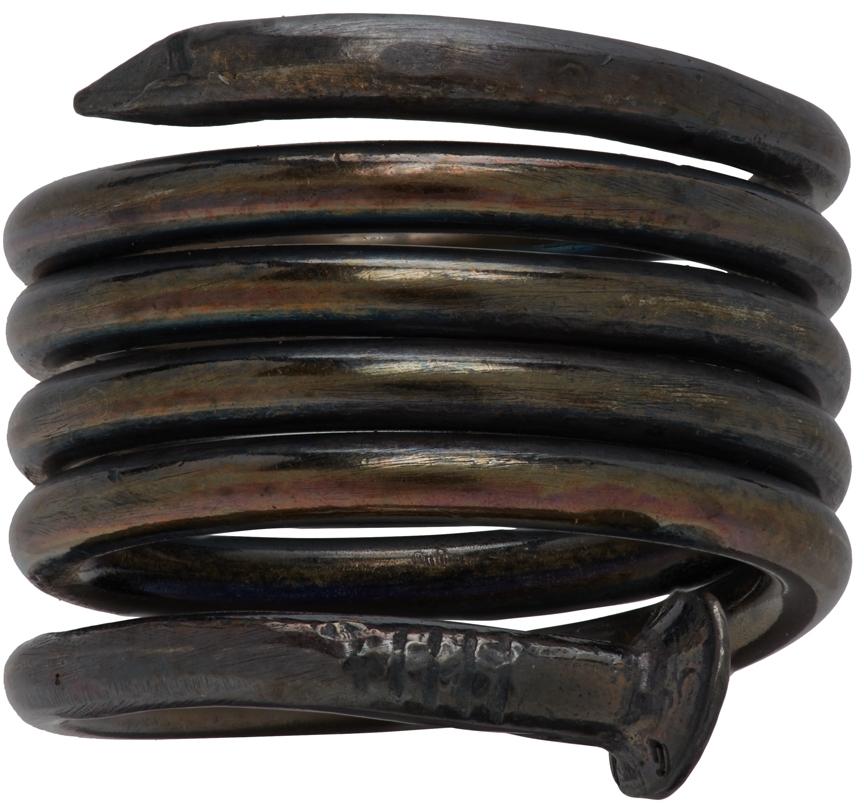 Gunmetal Spiral Nail Ring