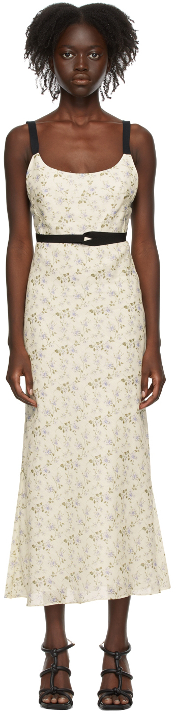 Off-White Linen Floral Tamara Dress