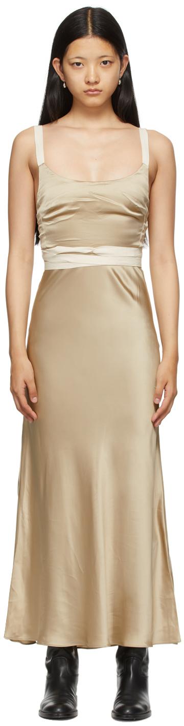 Beige Satin Tamara Dress