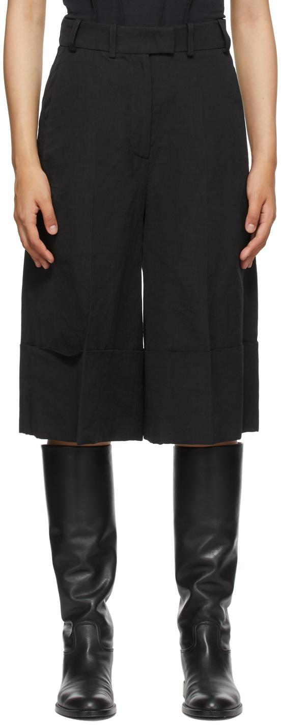 Black Linen Tam Shorts