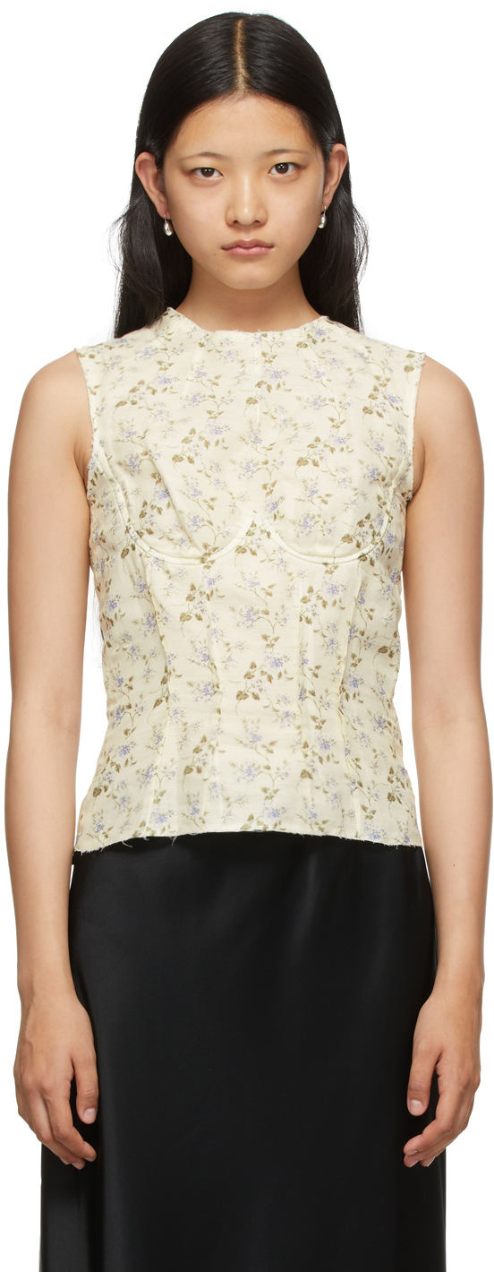 Off-White Linen Floral Thao Tank Top