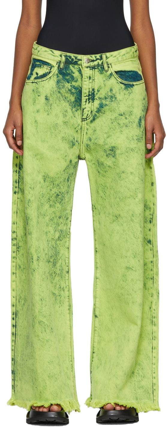 Marques Almeida Yellow Tie-Dye Boyfriend Jeans