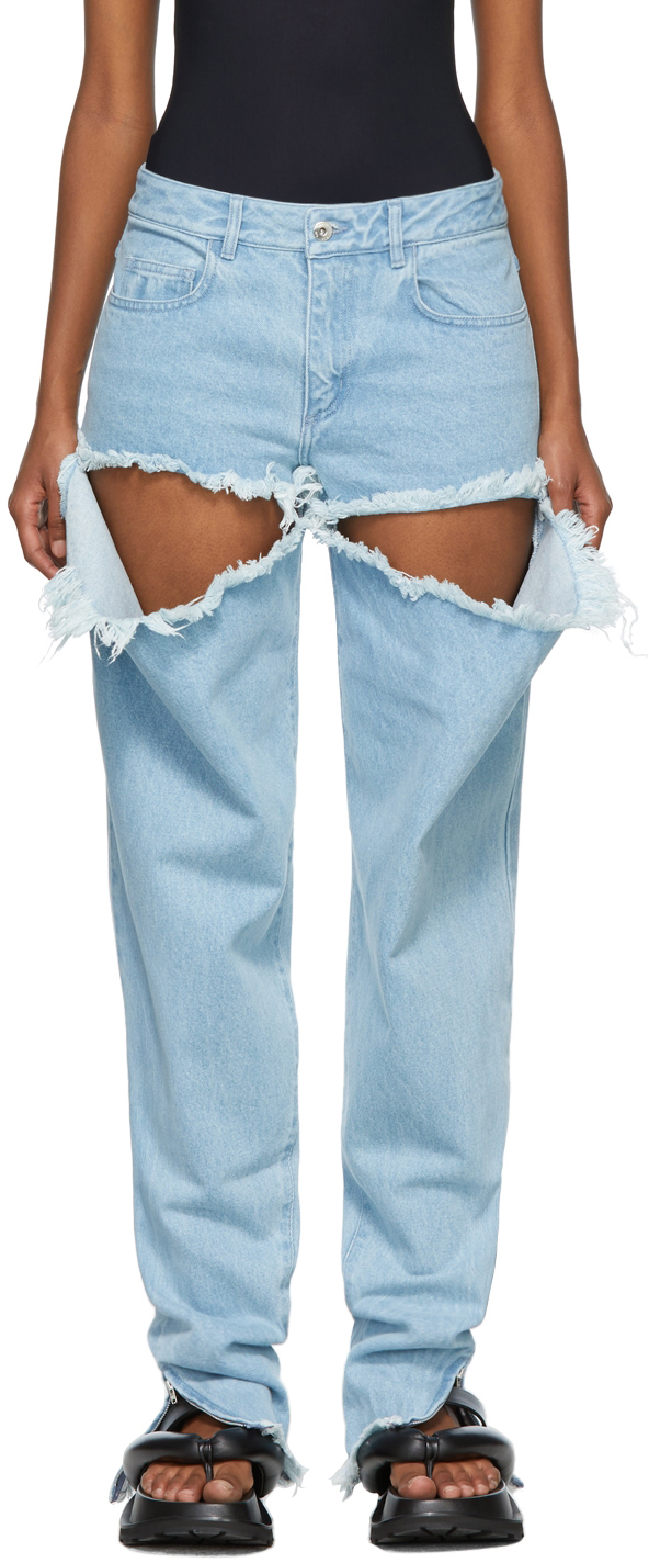 Marques Almeida SSENSE Exclusive Blue Ripped Hip Jeans