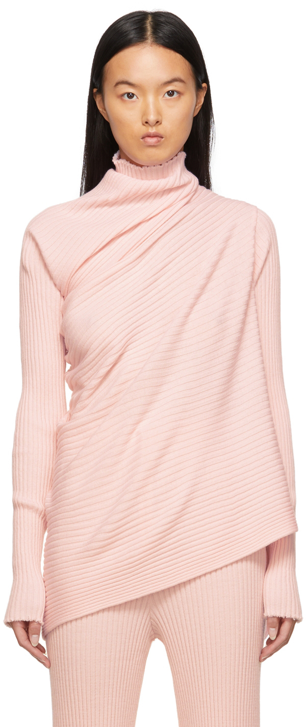 Marques Almeida Pink Draped Sweater