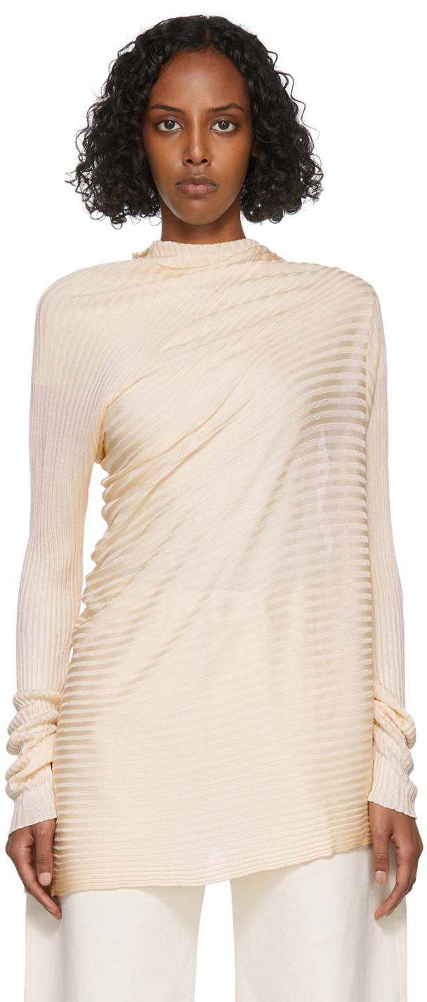 Marques Almeida Beige Draped Sweatshirt