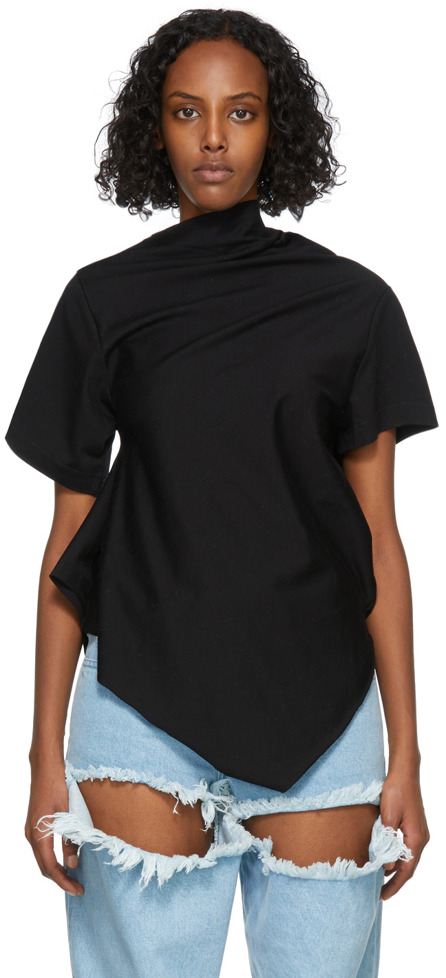 Marques Almeida Black Draped T-Shirt