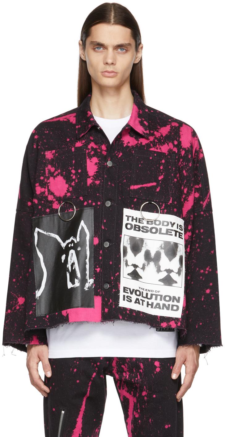 Black & Pink Anarchy Denim Jacket