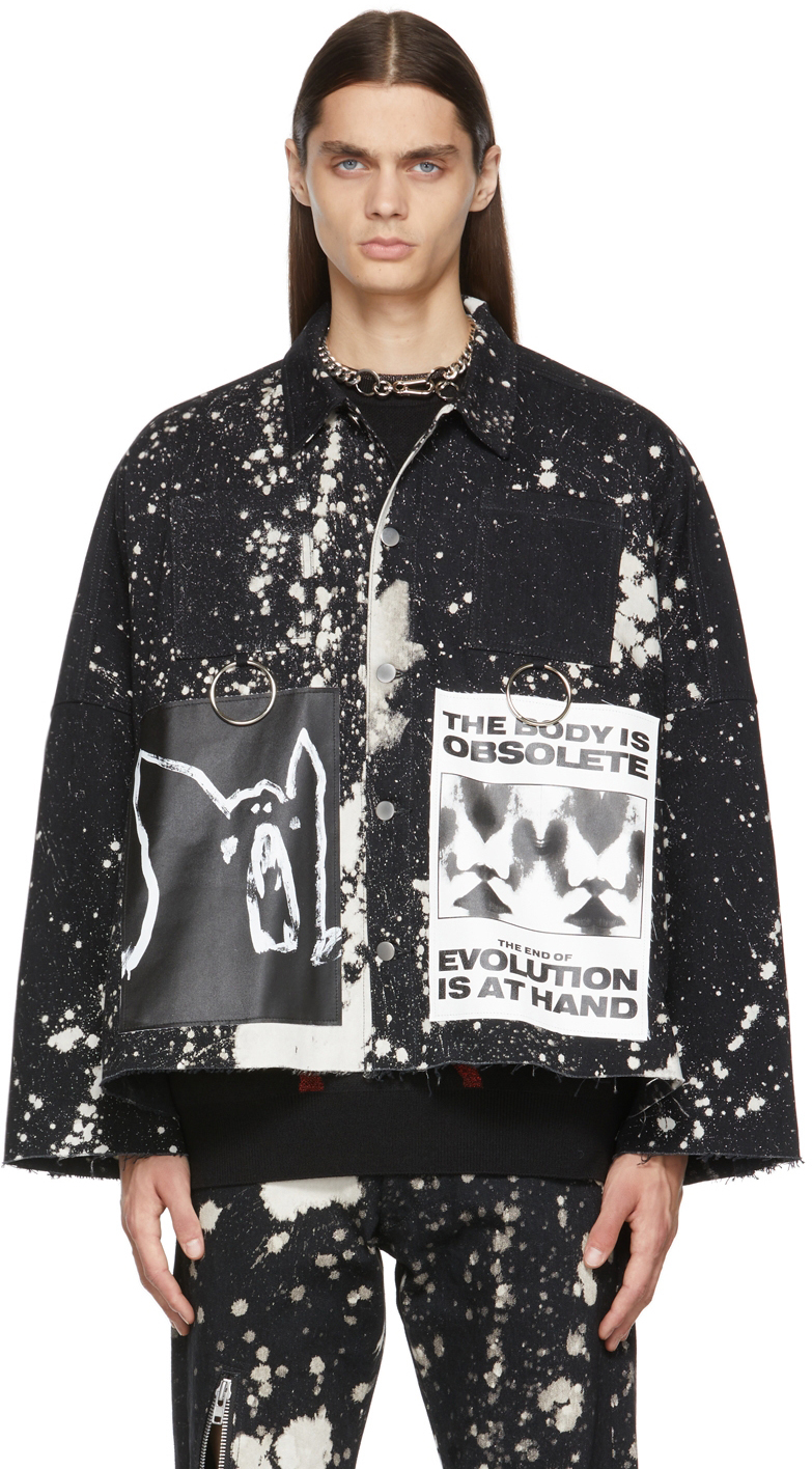 Black & White Anarchy Denim Jacket