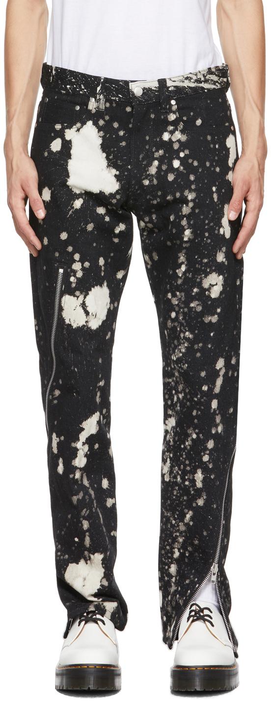 Black & White Zip Tapered Jeans