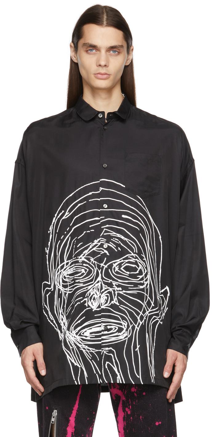 Black Sateen Stitchedman Shirt