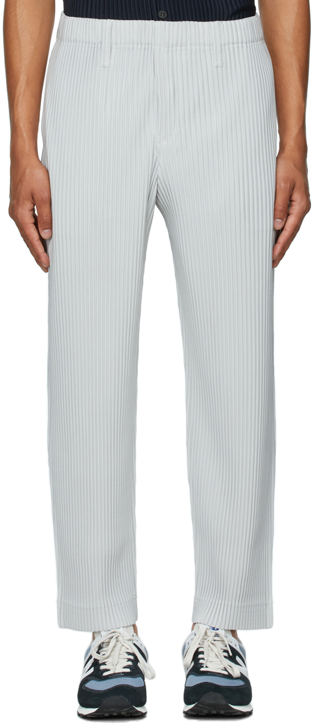 Grey Basics Pleated Trousers
