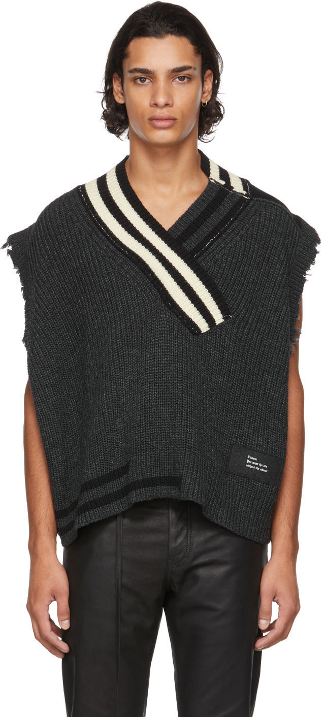 SSENSE Exclusive Grey Knit Raw Cut Vest