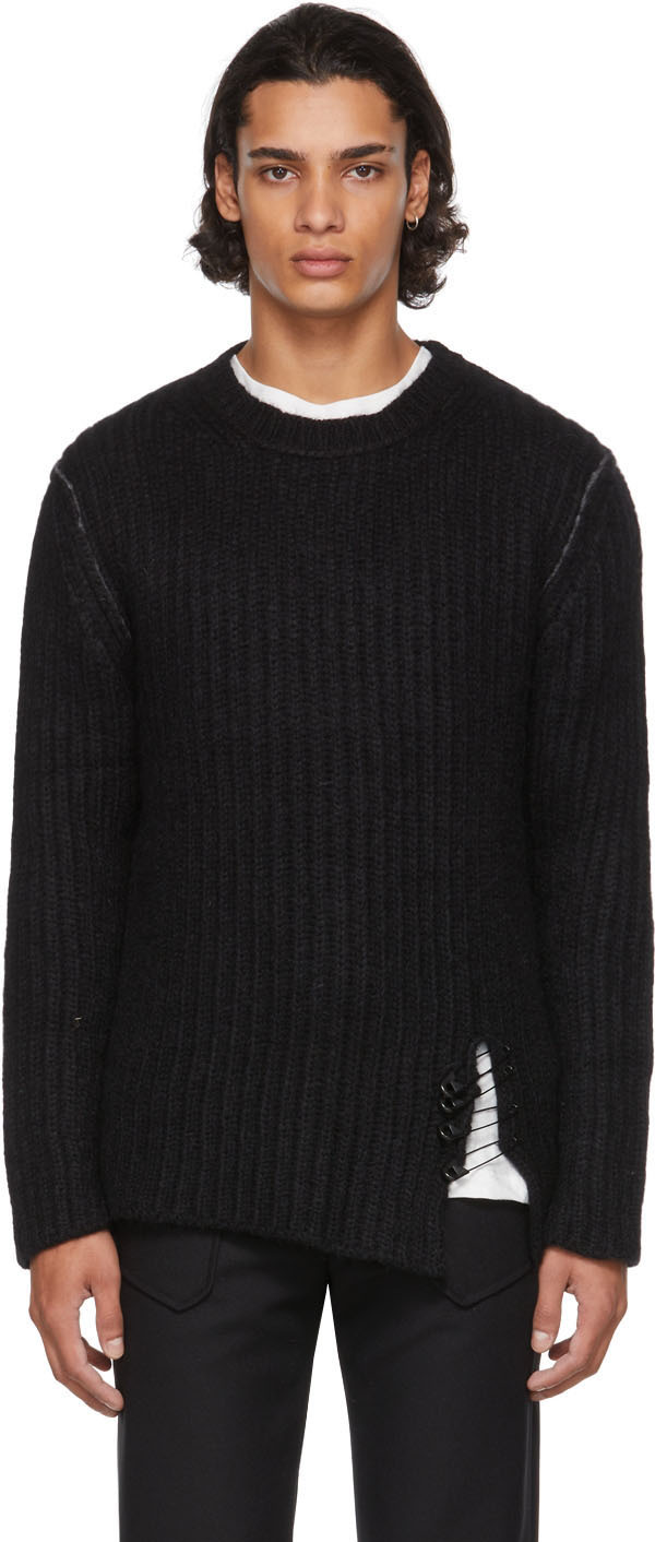 Black Alpaca Safety Pin Sweater