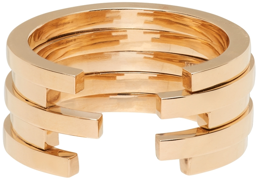 Gold Sequential 5 Arc Ring