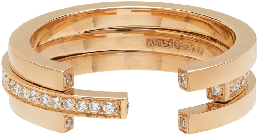 Gold Sequential 3 Arc Ring