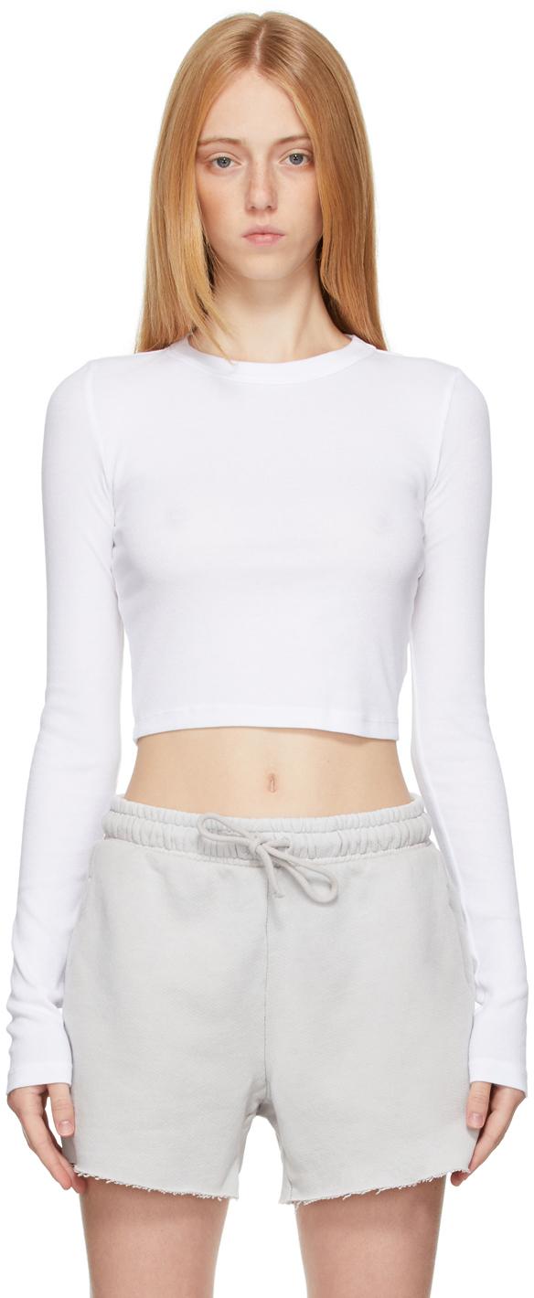 White Verona Crop Long Sleeve T-Shirt