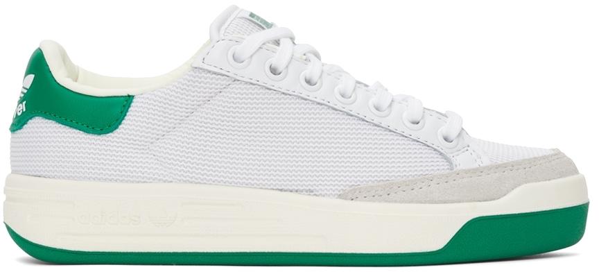 White & Green Mesh Rod Laver Sneakers