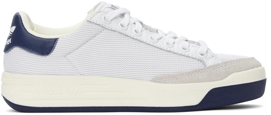 White & Navy Mesh Rod Laver Sneakers