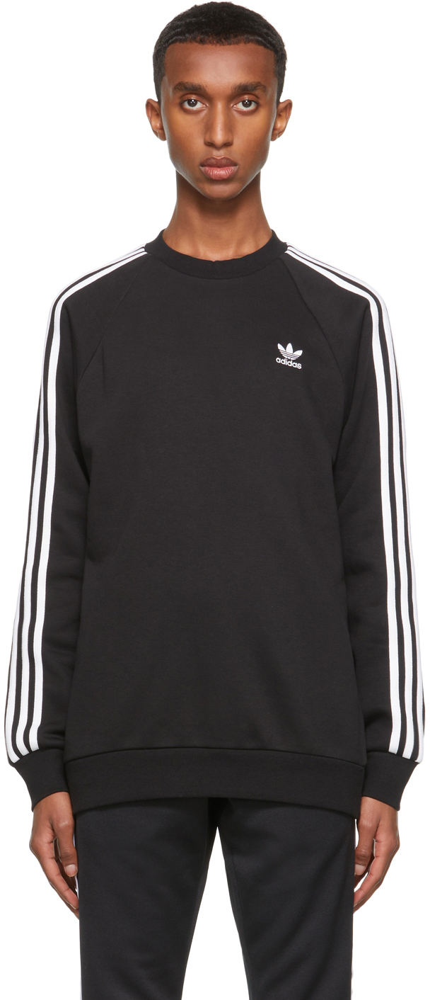 Black Adicolor Classics 3-Stripes Crew Sweatshirt