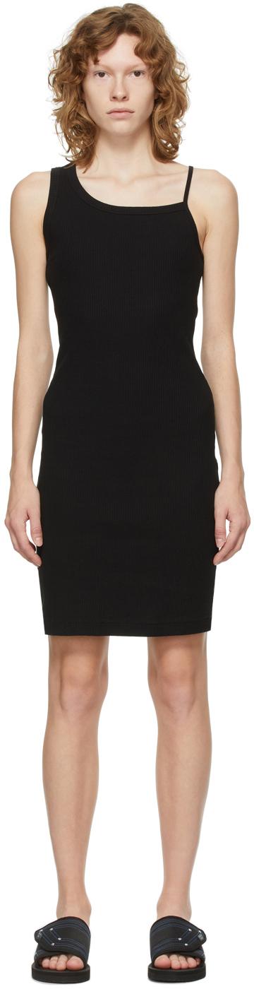 Black Rib Asymmetrical Cami Dress