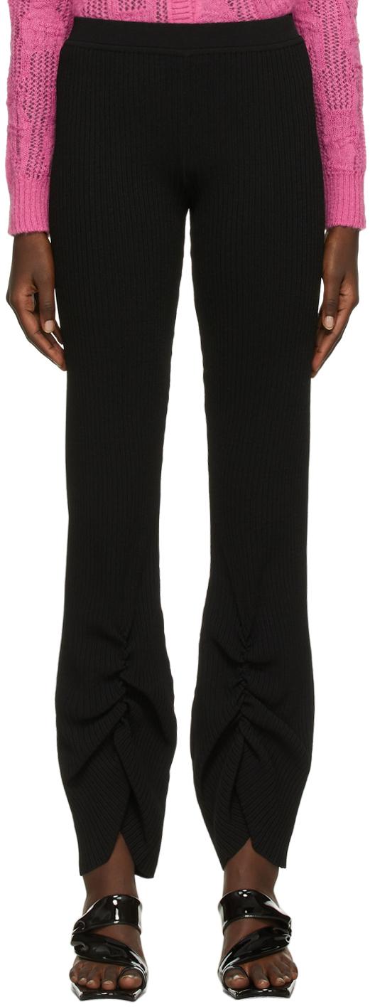 Black Viscose Rib Knit Trousers