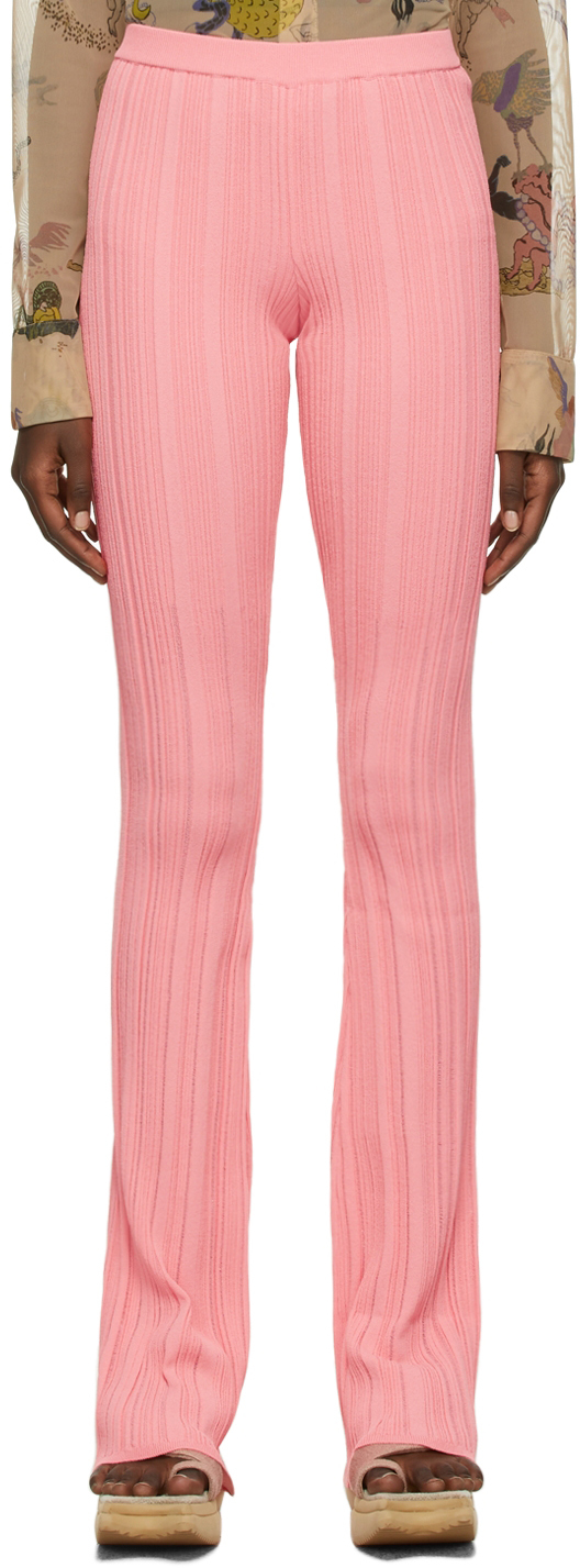 SSENSE Exclusive Pink Viscose Knit Lounge Pants
