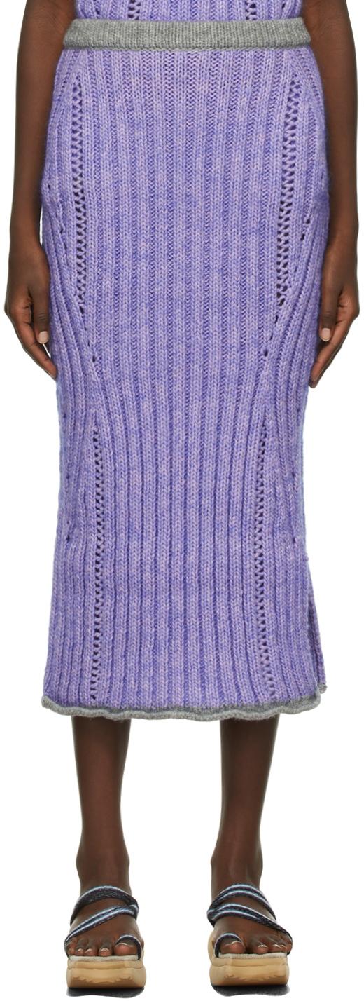 Purple Wool Knit Skirt