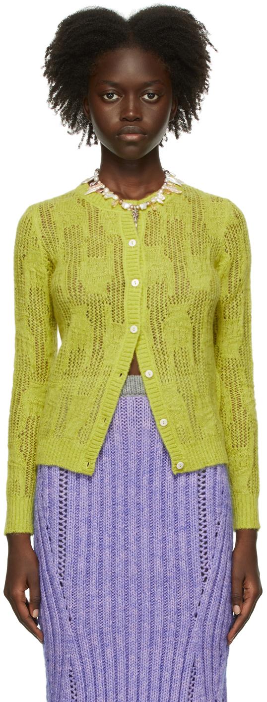 Green Open Knit Cardigan